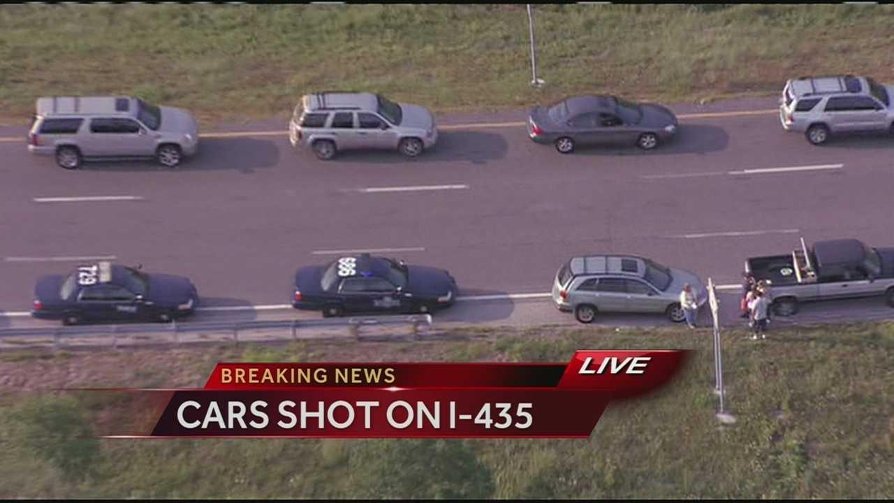 Vehicles damaged by gunfire, I-435, Wornall