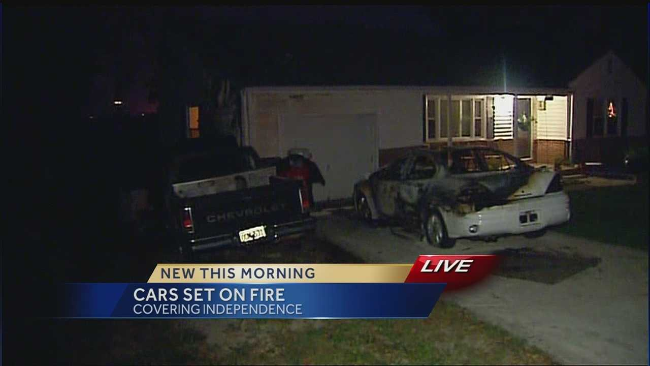 Vehicles torched in Independence front yard, 1 in custody