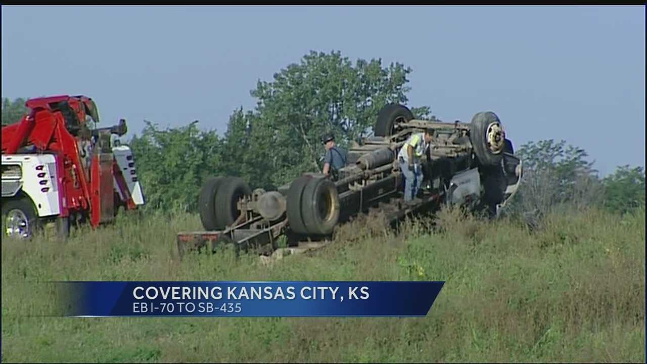 Box truck flips over on ramp from I-70 to I-435