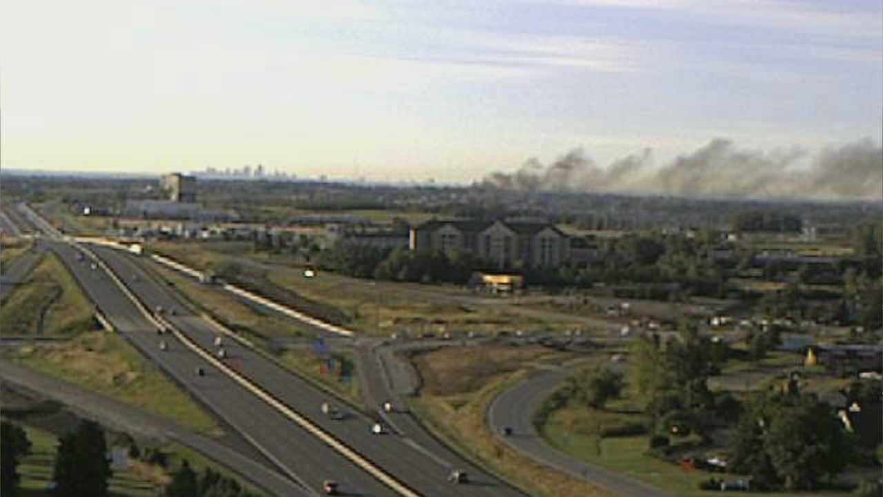 Brush fire near I-29 and Tiffany Springs Road