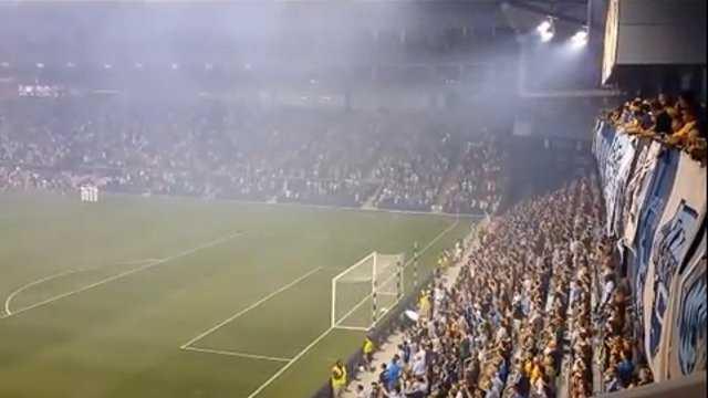 Crowd sings National Anthem at SKC game