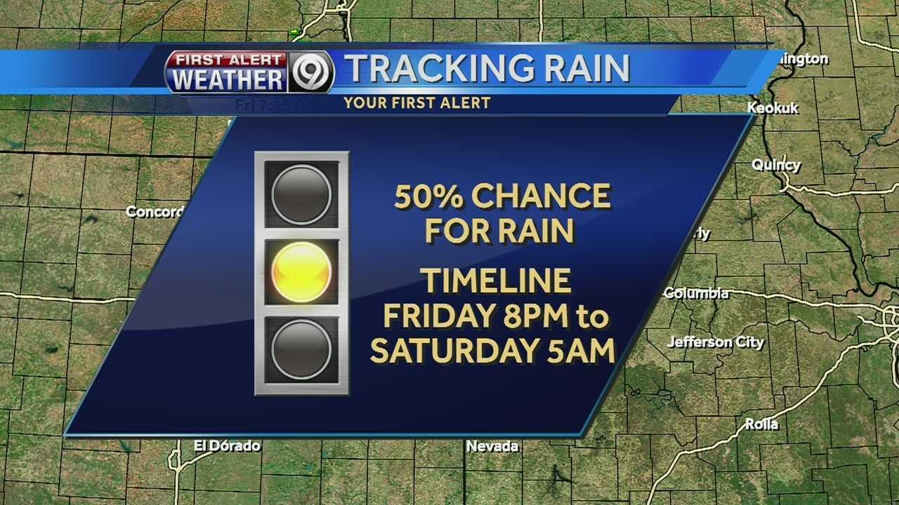 Weather graphic, thunderstorms possible