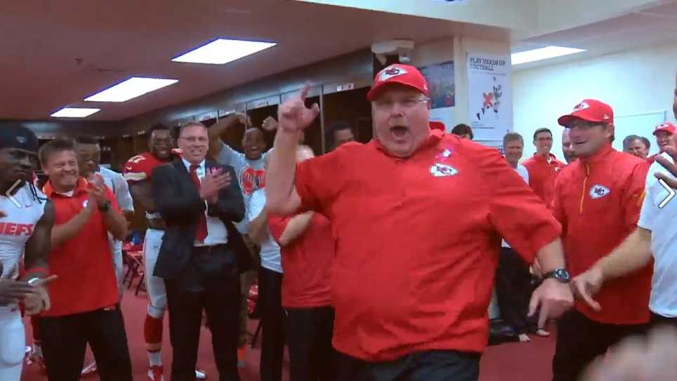 Andy Reid celebrating after the Chiefs seventh win