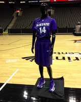 The Kansas State uniform on display at Big 12 basketball media day at Sprint Center.