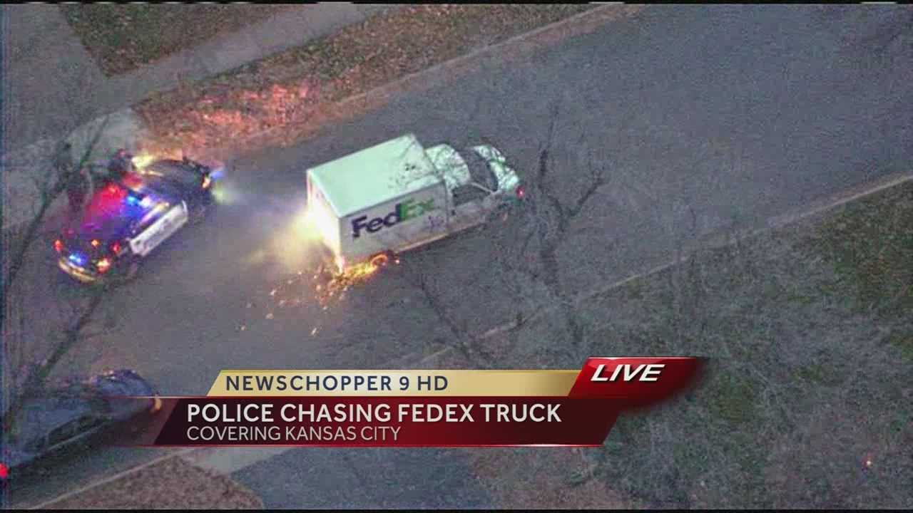 KCMO Police chase stolen FedEx truck 9