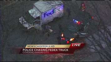 Images from a chase involving a stolen FedEx truck through the streets of Kansas City, Mo., on Wednesday evening. Police had guns drawn on the driver at one point, but the driver drove away. The chase finally ended when the truck's tires were blown out, and the truck could go no further.