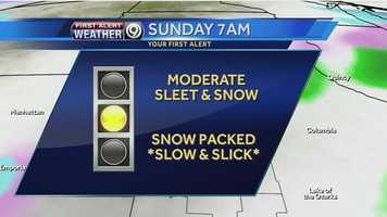 Expect moderate sleet and snow on Sunday morning, with possible snow packed and very slick roads.  Be careful if you're heading to church or the Chiefs game.  Stay with KMBC.com for updates as we get closer to the storm, as the forecast could change.