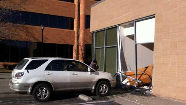 Image SUV hits bank