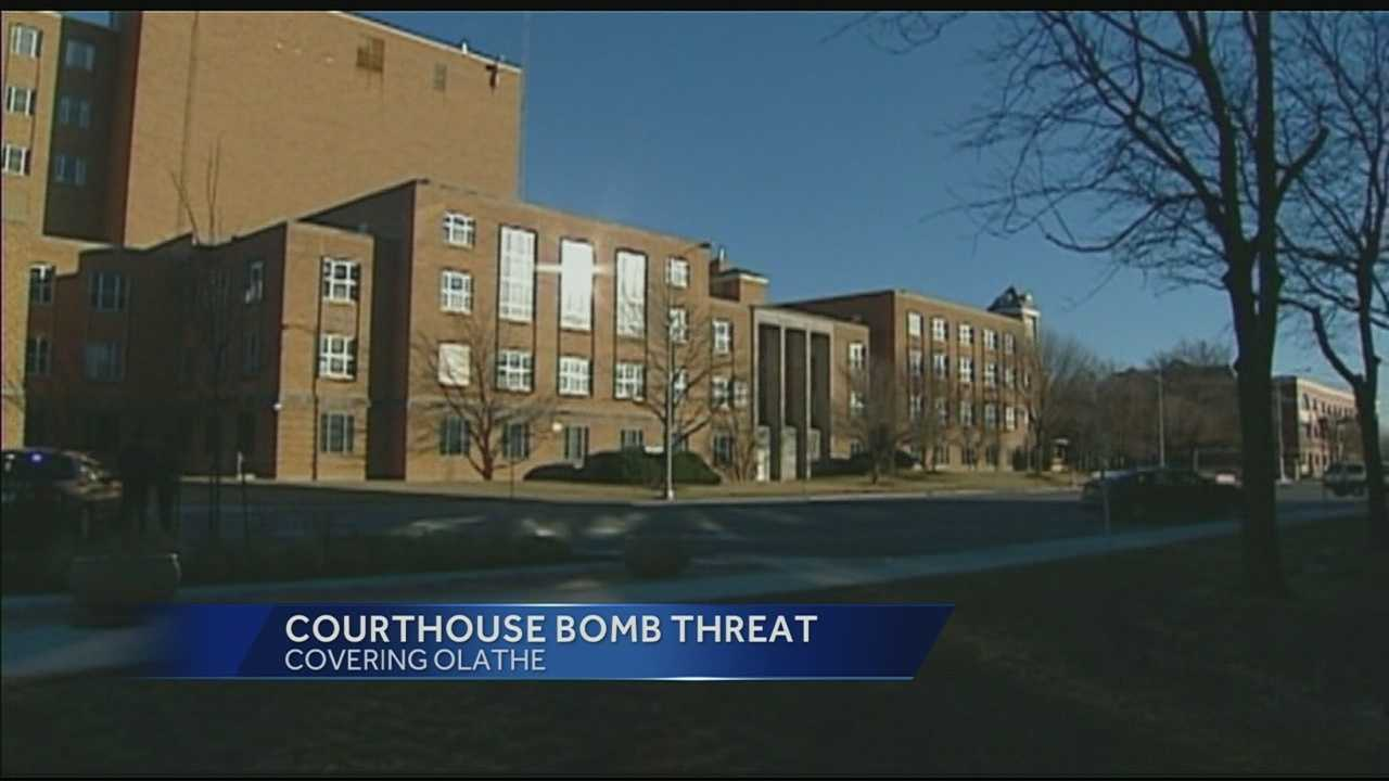 Image johnson County Courthouse with threat banner