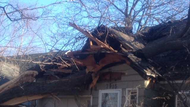 Tree falls on house on Ward Parkway Plaza 1