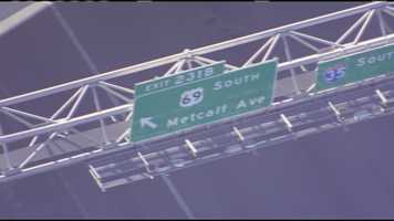 Images of a huge overhead sign that was damaged on Interstate 35 south at Interstate 635.  I-35 was closed until at least 5:30 p.m. as crews worked to repair the damage.