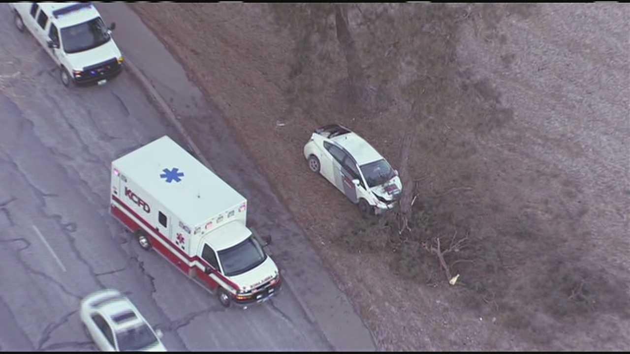 Car into tree, Roanoke, Ward Parkway