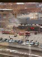 Here are some images from an apparent fire on the roof of the Jack Stack Barbeque Freight House location in the Crossroads District of Kansas City, Mo.
