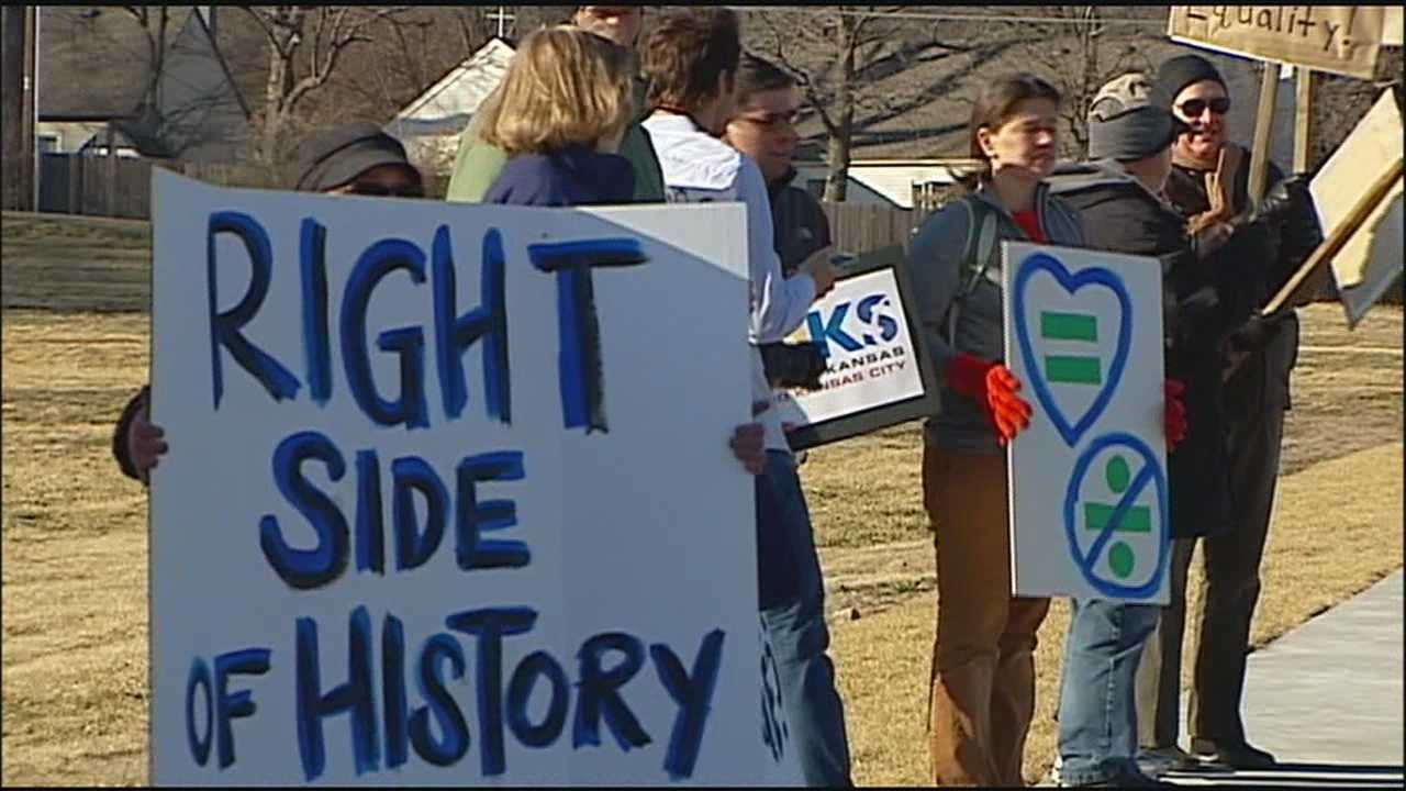 People gathered in Mission, Kansas for a counter rally Sunday.