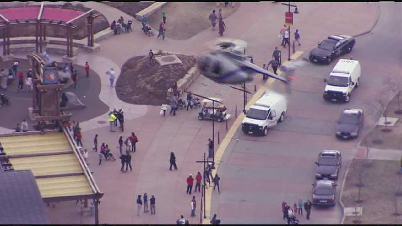 Image from NewsChopper 9 flying over the Kansas City Zoo, where police responded after shots were fired in parking lot.