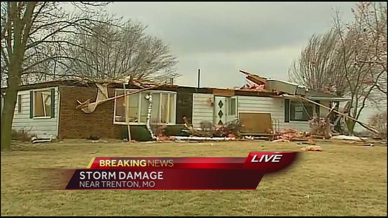 Homes damaged by possible tornado in Trenton, Mo.