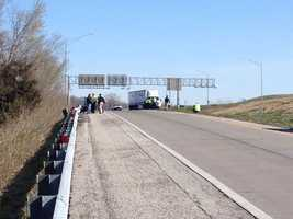 Kansas City police and ATF agents searched along U.S. 71 and Interstate 435 Wednesday morning. Authorities are investigating a series of highway shootings.