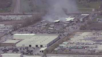 Firefighters were called to put out a fire at Deffenbaugh's recycling plant in Kansas City, Kan., on Wednesday.