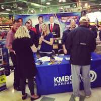 This photo appears on KMBC's Instagram account. KMBC Meteorologist Erin Little met many viewers and shoppers eager to purchase useful weather radios.