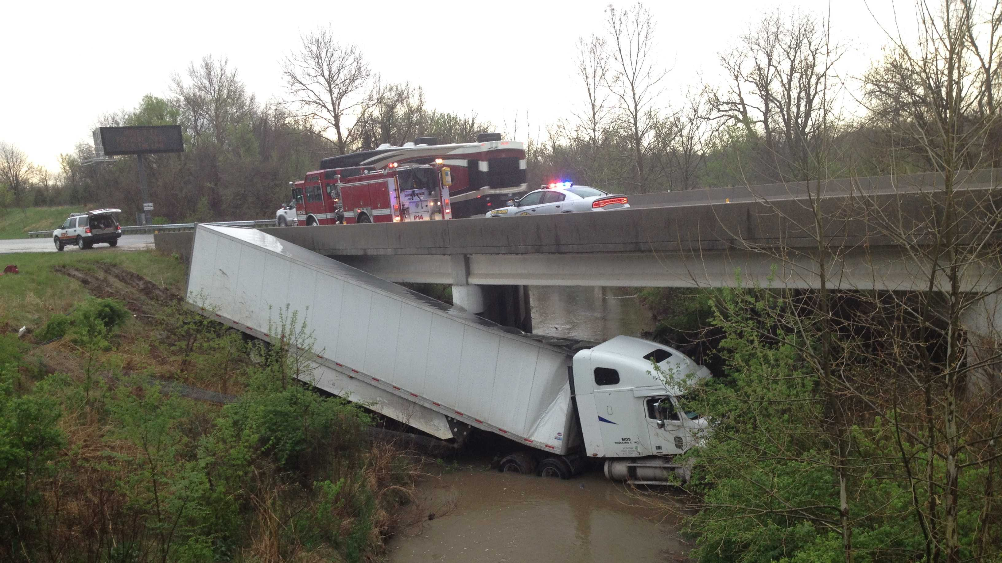 Truck in water near Shoal Creek Parkway