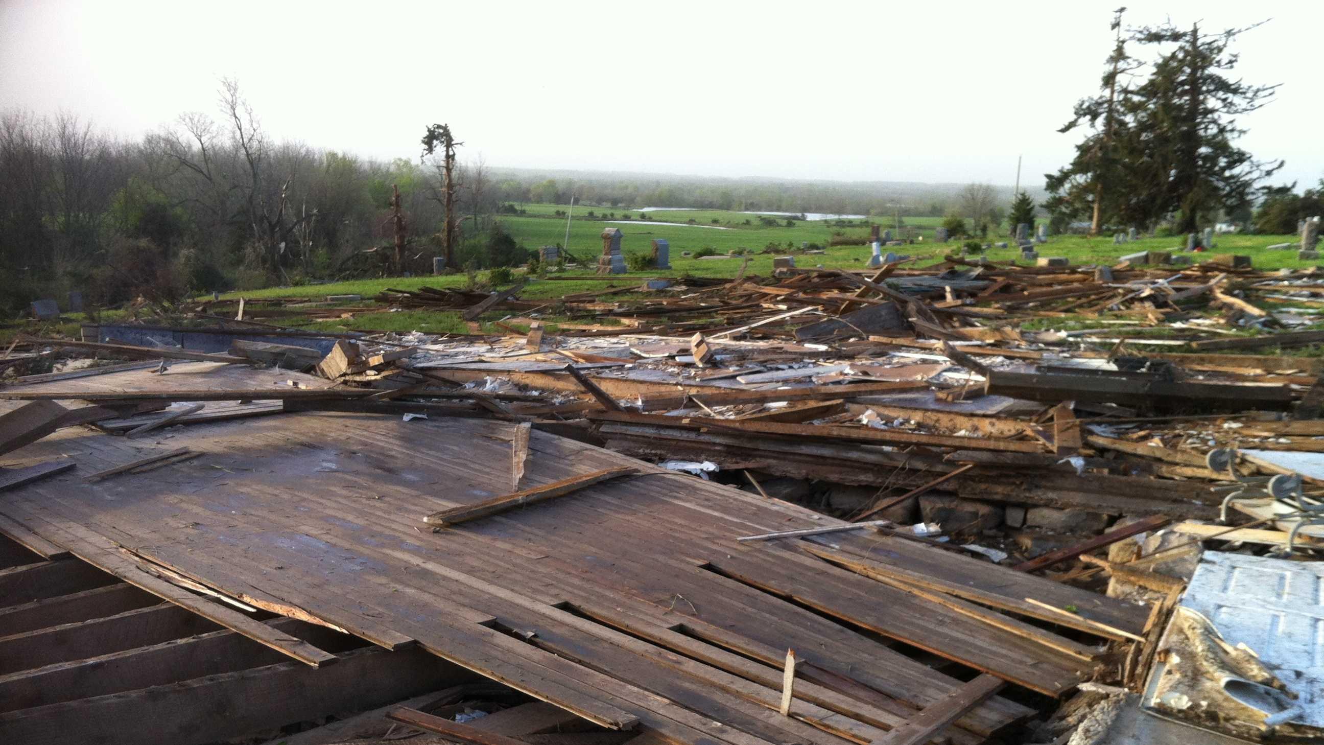 Tornado flattens old church in Linn County, Kansas