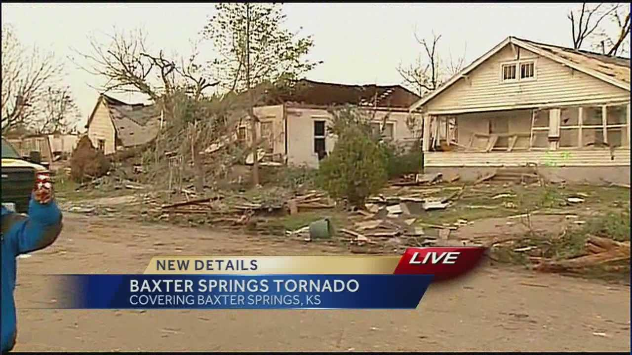 Images of tornado damage from Baxter Springs, Kansas