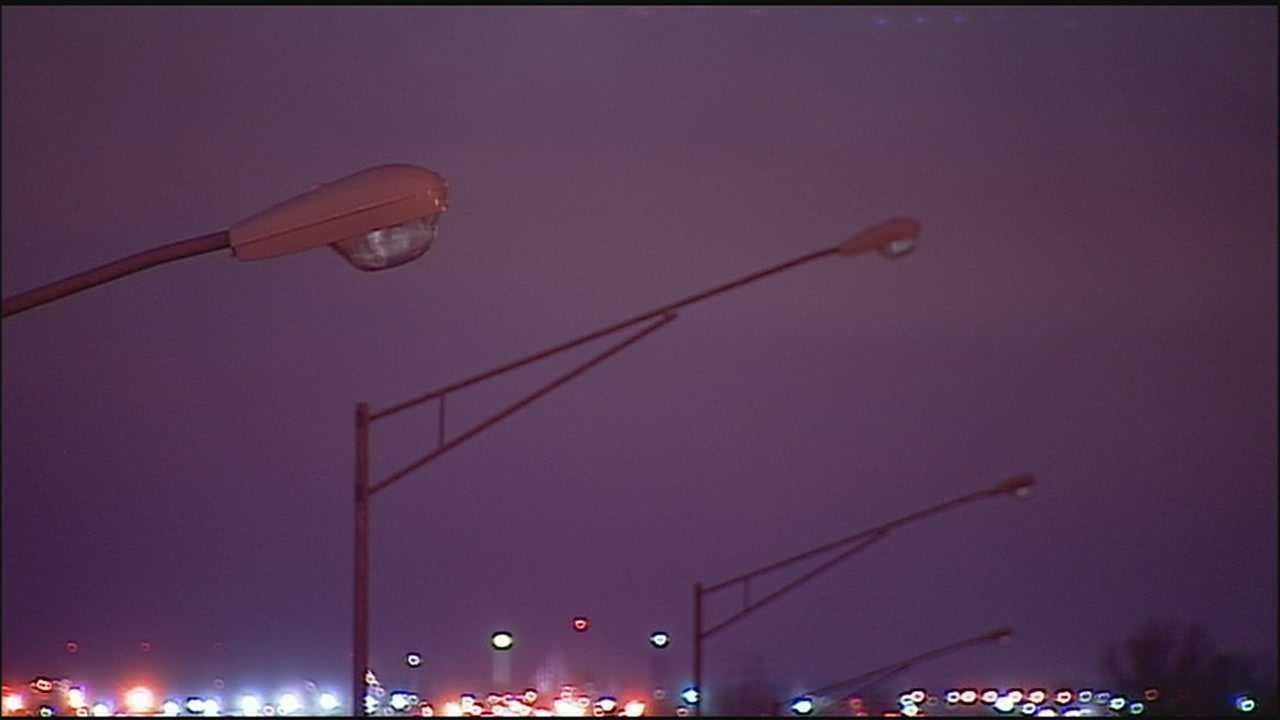 Highway lights, dark