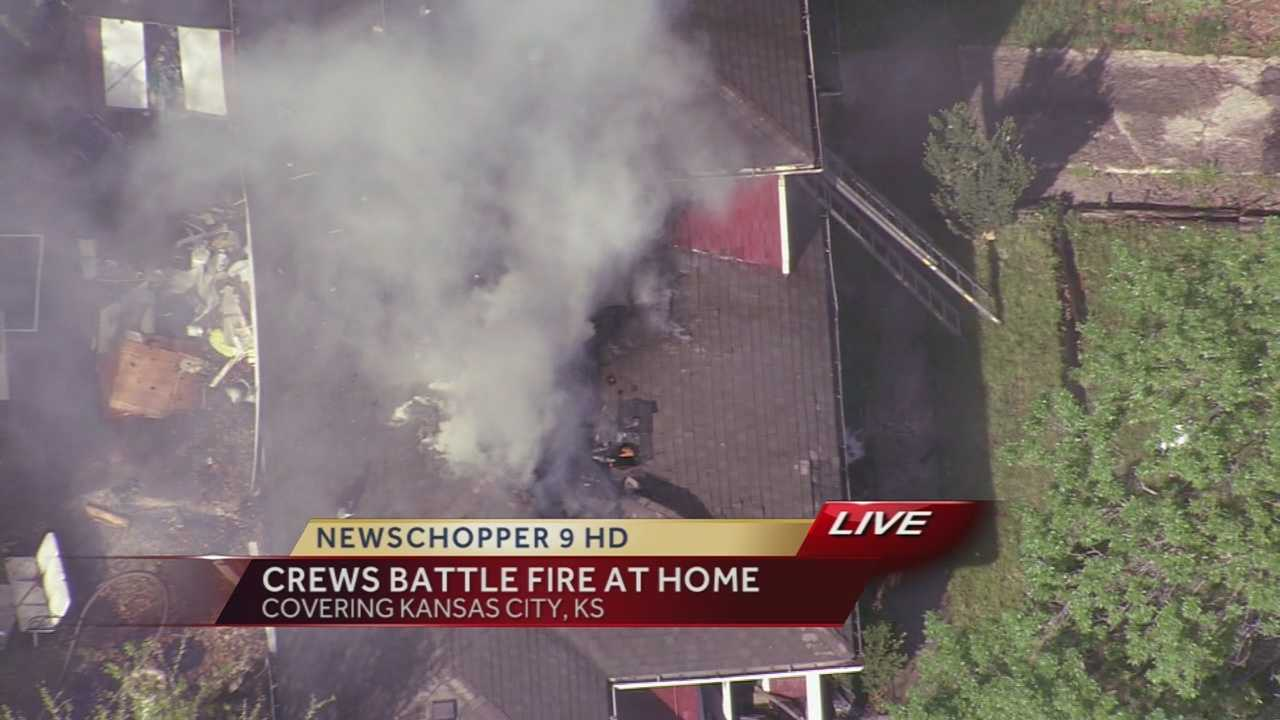 Image Fire at KCK house -- roof damaged