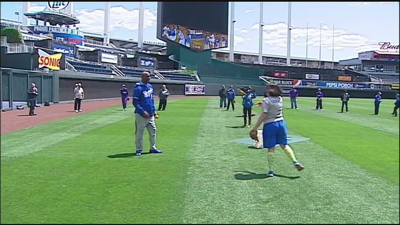 Special Olympians play ball with former Royals at Kauffman Stadium