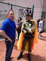 Villain KC Cucaracha poses after being foiled again by Muchacho de Hierro.