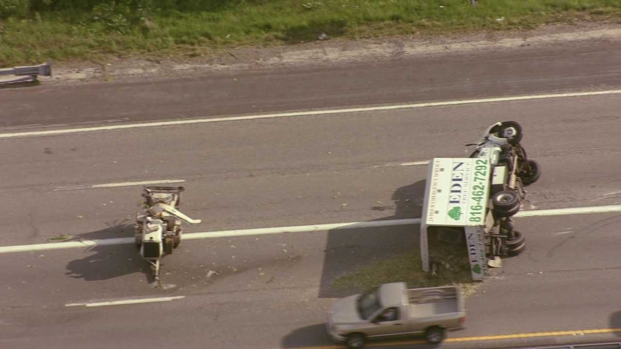 Landscape truck flips over