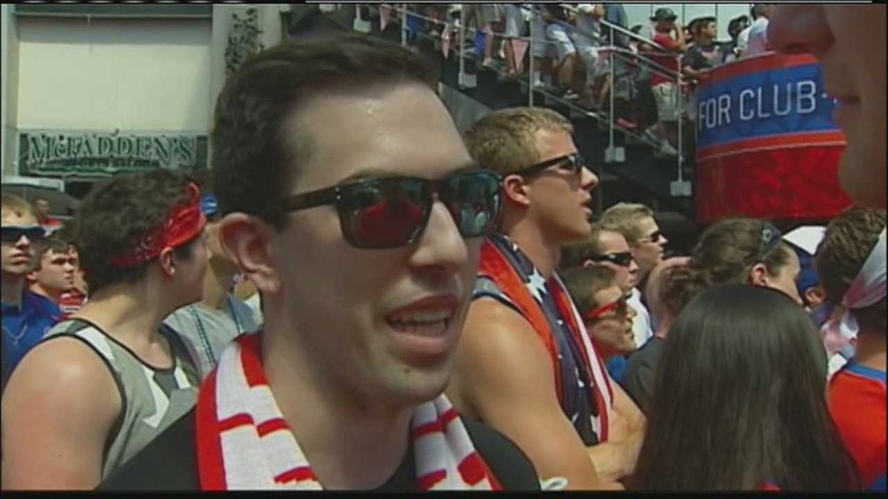 A young man who was too sick to leave his hospital room last year joined the huge crowd to watch the World Cup game at the Power and Light District on Tuesday.