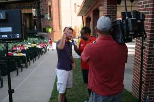 KMBC 9 News Chief Meteorologist Bryan Busby interviews Ace Yount at Kansas City's Starlight Theatre.