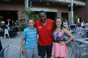 KMBC 9 News Chief Meteorologist Bryan Busby meets viewers dining before a show at Starlight Theatre.