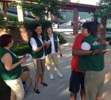 KMBC 9 News Chief Meteorologist Bryan Busby shares laughs and autographs with ushers at Kansas City's Starlight Theatre.
