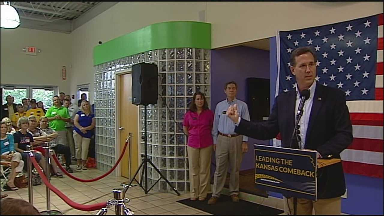 Former presidential candidate Rick Santorum came to Olathe on Monday to help rally support for Gov. Sam Brownback's bid for re-election.