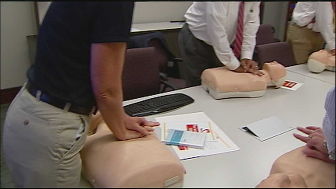 As part of an effort to train all public employees and 25,000 residents in Johnson County, members of the Johnson County Commission learn how to do hands-only CPR.