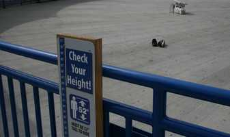 """KMBC's """"Hometown Weather"""" tour traveled to Worlds of Fun Thursday. Many guests who rode the SteelHawk ride left their shoes behind before going up."""
