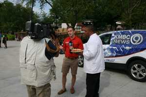 """KMBC's """"Hometown Weather"""" tour traveled to Worlds of Fun Thursday. Executive Chef Kevin Williams made a funnel cake for meteorologist Nick Bender and the KMBC 9 News crew."""