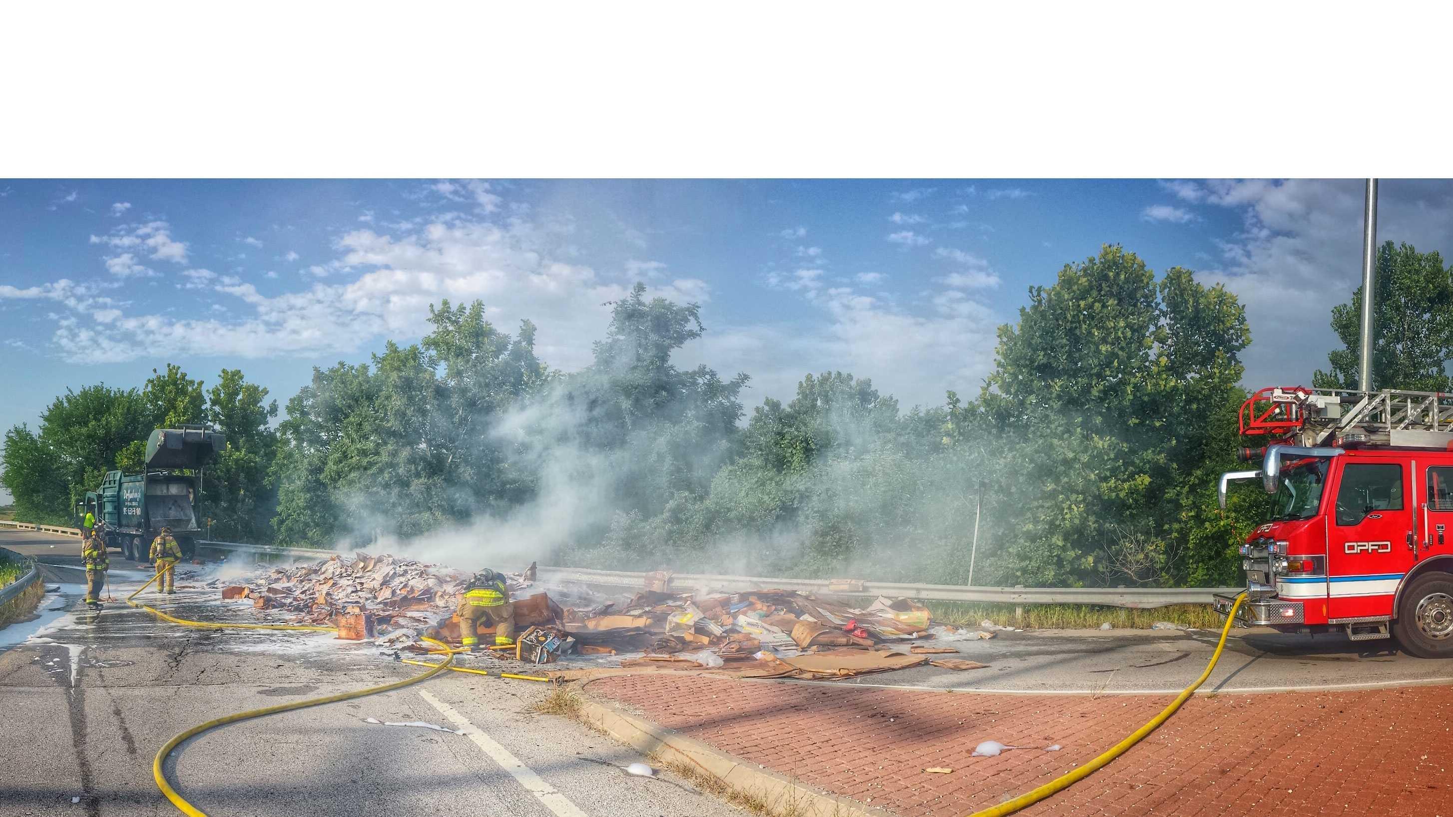 Overland Park trash truck fire