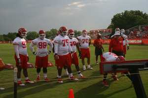 Photos from Chiefs training camp at Missouri Western State University in St. Joseph.  The defensive line gets to work.