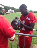 Photos from Chiefs training camp at Missouri Western State University in St. Joseph.  Rookie De' Anthony Thomas signs autographs after practice.
