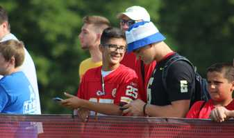 Photos from Chiefs training camp Thursday morning at Missouri Western State University. Chiefs fans check kmbc9news on Instagram to find a video of them cheering on rookie running back De'Anthony Thomas. WATCH VIDEO.