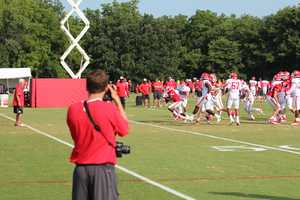 Photos from Chiefs training camp Thursday morning at Missouri Western State University. Chiefs rookie running back De'Anthony Thomas runs out of the backfield.