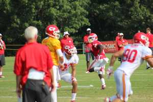Photos from Chiefs training camp Thursday morning at Missouri Western State University. Chiefs rookie running back De'Anthony Thomas runs a route downfield.