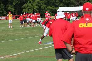 Photos from Chiefs training camp Thursday morning at Missouri Western State University. Chiefs rookie running back De'Anthony Thomas runs a pattern out of the backfield.
