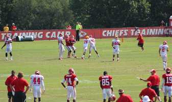 Photos from Chiefs training camp Thursday morning at Missouri Western State University. Chiefs rookie running back De'Anthony Thomas fields punts with the special teams unit.