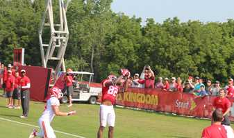 Photos from Chiefs training camp Thursday morning at Missouri Western State University. Chiefs veteran receiver Dwyane Bowe runs a route into the endzone for a touchdown. This is not a duplicate. Bowe made two similar grabs during redzone drills.