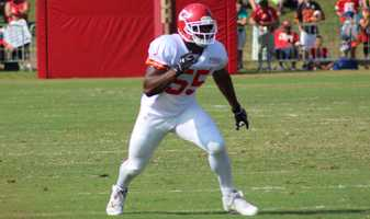 The Kansas City Chiefs practice a final time from training camp before their first preseason game versus the Cincinnati Bengals Thursday. Rookie Dee Ford drops into pass coverage during a 7-on-7 drill Monday.
