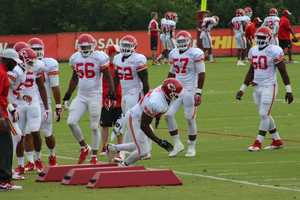 The Kansas City Chiefs practice a final time from training camp before their first preseason game versus the Cincinnati Bengals Thursday. Rookie Dee Ford does agility drills with fellow defensive linemen and linebackers.